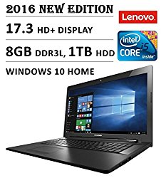 2016 Lenovo 17 inch Premium Laptop PC, 17.3″ HD+ Display, 5th Intel Core i5-5200U up to 2.7GHz, 8GB Memory, 1TB HDD, DVD+/-RW, HDMI, VGA, Bluetooth, 802.11ac, Webcam, Windows 10