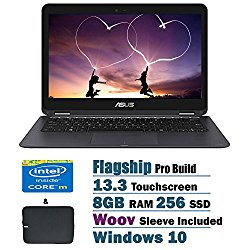 2017 ASUS ZenBook UX360CA 2 in 1 Flagship High Performance 13.3 inch Full HD Touchscreen Laptop PC, Intel Core m3-6Y30 Dual-Core, 8GB RAM, 256GB SSD, Bluetooth 4.1, WIFI, Windows 10 Home