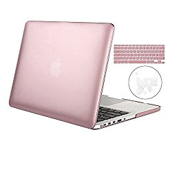 3 in 1 Macbook Pro 13 Inch with Retina Display Plastic Hard Case Cover & Dust plug & Keyboard Cover for Macbook Pro 13″ No CD-ROM (A1502/A1425),Rose Gold