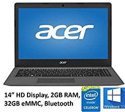 Acer Aspire One Cloudbook 14″ Laptop PC, Intel Celeron N3050 1.6GHz, 2GB DDR3L Memory, 32GB eMMC, Webcam, HDMI, 802.11ac WIFI, Bluetooth, Windows 10 (Certified Refurbished)