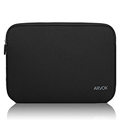 Arvok 15 15.6 Inch Water-resistant Neoprene Laptop Sleeve/Notebook Computer Pocket Case/Tablet Briefcase Carrying Bag/Pouch Skin Cover For Acer/Asus/Dell/Fujitsu/Lenovo/HP/Samsung/Sony/Toshiba(Black)