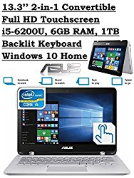 ASUS Q304UA 13.3-inch 2-in-1 Touchscreen Full HD Laptop PC (2016 Newest Premium Edition, 6th Intel Core i5-6200U up to 2.8GHz, 6GB RAM, 1TB HDD) Silver