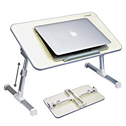 Avantree Quality Adjustable Laptop Table, Portable Standing Bed Desk, Foldable Sofa Breakfast Tray, Notebook Stand Reading Holder for Couch Floor – Minitable Beige