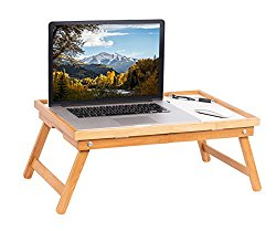 BirdRock Home Bamboo Lap Tray with White Top   Foldable Breakfast Serving Bed Tray   Lap Desk with Wide Tilting Top   Laptop Stand   Natural