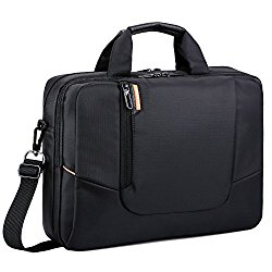 BRINCH 15.6 inch Soft Nylon Waterproof Laptop Computer Case Cover Sleeve Shoulder Strap Bag with Side Pockets Handles and Detachable for Macbook Pro Retina 15 inch – Black