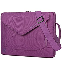 BRINCH Durable Envelope Nylon 15 – 15.6 Inch Laptop / Notebook / Macbook/Ultrabook/Tablet Computer Bag Shoulder Carrying Envelope Case Pouch Sleeve With Shoulder Strap Pockets and Card Slots (Purple)