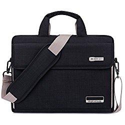 Brinch Unisex Oxford Laptop Sleeve Messenger Shoulder Bag for 15 – 15.6-Inch Laptop / Notebook / MacBook / Ultrabook / Chromebook Computers (Black)