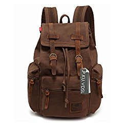 Canvas Backpack, P.KU.VDSL-AUGUR SERIES Knapsack Rucksack Hiking Mountaineering Daypacks Retro for Men (Coffee)
