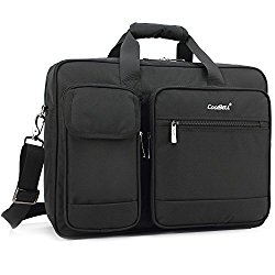 CoolBell 17.3 Inch Laptop Briefcase Protective Messenger Bag Nylon Shoulder Bag Multi-functional Hand Bag For Laptop / Ultrabook / Tablet / Macbook / Dell / HP / Men/Women/Business (Black)
