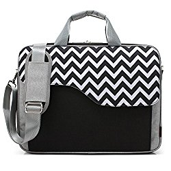 CoolBell 17.3 Inch Nylon Laptop Bag Shoulder Bag With Strap Multicompartment Messenger Hand Bag Tablet Briefcase For iPad Pro / laptop / Macbook / Ultrabook / Men / Women / College (Black Wave)