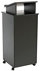 Displays2go Rolling Wood Podium, 44 Inch H, Locking Wheels, 2 Shelf Open Cabinet, Top Surface with Lip, Black (LCTTBLRLSB)