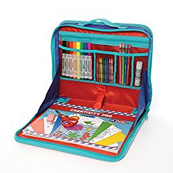 ezDesk Model T100 Travel Activity Kit, Laptop Style Desk with Writing and Craft Accessories (EZ02-ADT100-12)