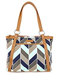 Kailo Chic Pleated Laptop Tote – Navy and Mint Chevron