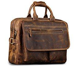 Kattee Men's Leather Durable Briefcase, 16″ Laptop Bag