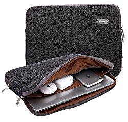 Kayond Herringbone Woollen Water-resistant 13-13.3 Inch Laptop Sleeve Case Bag (13-13.3 Inches, Black)