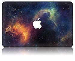 KEC MacBook Air 13 Inch Case Plastic Hard Shell Cover Protective A1369 / A1466 Space Galaxy (Orange)