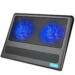 Laptop Cooling Pad, TeckNet Portable Ultra-Slim Quiet Laptop Notebook Cooler Cooling Pad Stand with 2 USB Powered Fans, Fits 9-16 Inches
