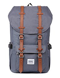 Laptop Outdoor Backpack, Travel Hiking& Camping Rucksack Pack, Casual Large College School Daypack, Shoulder Book Bags Back Fits 15″ Laptop & Tablets by Kaukko (Ngrey)