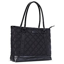 Laptop Tote Bag, DTBG 15.6 Inch Nylon Classic Diamond Pattern Travel Business Computer Shoulder Bag Carrying Briefcase Handbag For 15 – 15.6 Inch Laptop / Notebook / MacBook / Ultrabook /Tablet,Black