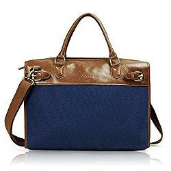 Lavievert Cotton Canvas and Crazy-horse PU Leather Laptop Bag / Vintage Cross Body Shoulder Bag and Handbag 2 in 1 / Notebook Ultrabook Tablet Padded Case for Up to 15.6 Inch Laptop – Blue