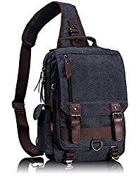 Leaper Canvas Message Sling Bag Outdoor Cross Body Bag Messenger Shoulder Bag (Large,Black)