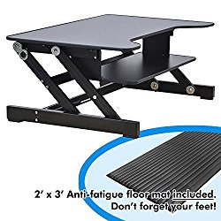 Lorell Sit-to-Stand Monitor Riser (LLR81974), Bonus bundle: Includes 2′ x 3′ Anti-fatigue Mat
