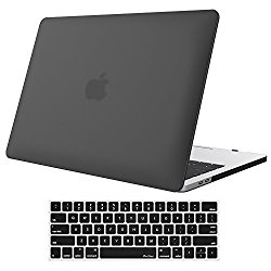 MacBook Pro 13 Case 2016 A1706/A1708, ProCase Rubberized Hard Case Shell Cover and Keyboard Skin Cover for Apple Macbook Pro 13 Inch (2016 Release) with/without Touch Bar and Touch ID -Black