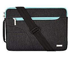 Mosiso Polyester Fabric Sleeve Case Cover Laptop Shoulder Briefcase Bag for 13-13.3 Inch MacBook Pro, MacBook Air, Ultrabook Netbook Tablet, Black