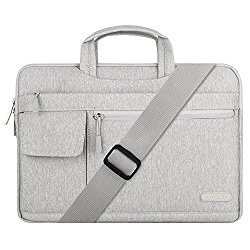 Mosiso Polyester Flapover Style Messenger Shoulder Bag Case Cover Briefcase for 13-13.3 Inch MacBook Pro, MacBook Air, Notebook Computer, Gray