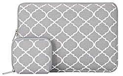 Mosiso Quatrefoil Style Canvas Fabric Laptop Sleeve Bag Cover for 13-13.3 Inch MacBook Pro, MacBook Air, Notebook with a Small Case, Gray