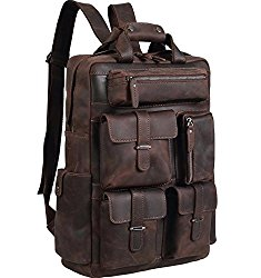 Polare Cool Cowhide Leather Multiple Laptop Backpack Day pack Travel Bag Stachel with 1 Year Warranty