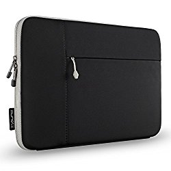 Runetz – 15-inch BLACK Neoprene Sleeve Case Cover for MacBook Pro 15.4″ with Retina Display / Touch Bar & Laptop 15″ – Black-Gray