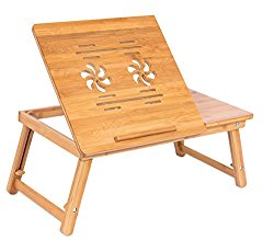 Sofia + Sam Bamboo Flower Lap Tray with Adjustable Legs | Foldable Breakfast Serving Bed Tray | Lap Desk with Tilting Top and Side Drawer | Laptop Stand | Natural
