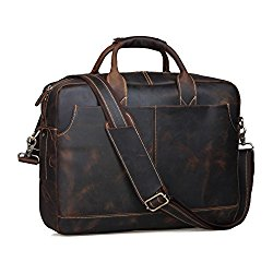 Texbo Genuine Leather Men's Briefcase Messenger Tote Bag Fit 17″ Laptop