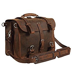 Texbo Real Thick Cowhide Leather Men's Shoulder Briefcase Fit 17″ Laptop Bag Tote