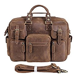 Texbo Vintage Genuine Cowhide Leather Messenger Briefcase Shoulder Bag Tote