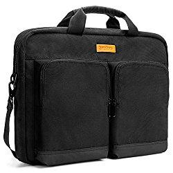 Tomtoc 15.6 Inch Multi-functional Business Laptop Briefcase Shoulder Bag, Black