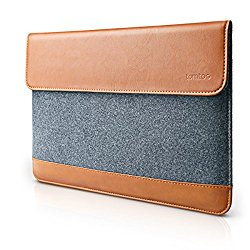 Tomtoc Ultra Slim 13 Inch MacBook Pro Retina/ MacBook Air/ 12.9 Inch iPad Pro Sleeve [Felt & PU Leather] Protective Bag with Accessory Pocket – Classic
