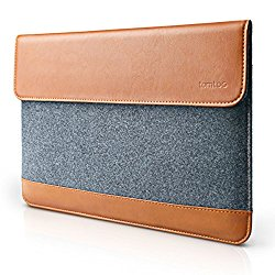 Tomtoc Ultra Slim 13 Inch New MacBook Pro Late-2016/ 12.9 Inch iPad Pro Sleeve Case [Felt & PU Leather] Laptop Protective Bag with Accessory Pocket – Classic