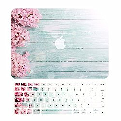 TOP CASE – 2 in 1 Bundle Deal Air 13-Inch Vibrant Summer Graphics Rubberized Hard Case + Keyboard Cover for MacBook Air 13″ Model A1369/A1466 – Pink Hyacinth Turquoise Wooden