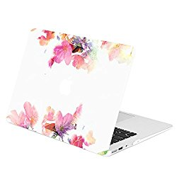 TOP CASE – Air 13-Inch Floral Reflection Pattern Graphics Rubberized Hard Case Cover for Macbook Air 13″ Model: A1369 / A1466 – Violet Reflection