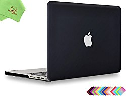 UESWILL Smooth Soft-Touch Matte Frosted Hard Shell Case Cover for MacBook Pro 15″ with Retina Display(NO Touch-Bar)(A1398) + Microfibre Cleaning Cloth, Black