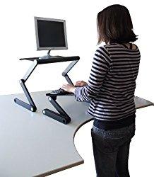 Workez Standing Desk Conversion Kit – Adjustable Ergonomic Sit to Stand Office Desk for Laptops & Desktops (BLACK)