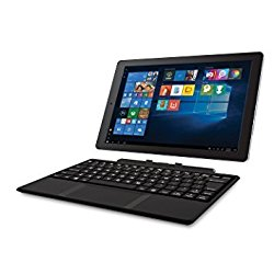 2018 RCA Cambio 2-in-1 10.1″ Touchscreen Tablet PC, Intel Quad-Core Processor, 2GB RAM, 32GB SSD, Detachable Keyboard, Webcam, WIFI, Bluetooth, Windows 10, Black