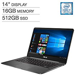 ASUS ZenBook UX430UN UltraBook Laptop: 14″ Matte NanoEdge FHD (1920×1080), 8th Gen Intel Core i7-8550U, 512GB SSD, 16GB RAM, NVIDIA MX150 Graphics, Backlit Keyboard, FingerPrint Reader, Windows 10
