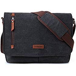 14 Inch Laptop Messenger Bag For Men And Women,Canvas Leather Shoulder Bag For Work School VONXURY