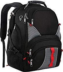 17 Inch Laptop Backpack,Large Travel Backpack,TSA Friendly Durable Computer Bagpack with Luggage Sleeve for Men Women, Water Resistant Business College School Bag with USB Charger Port, Black