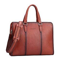 Banuce Genuine Leather Briefcase for Women Tote Handbag Laptop Messenger Attache