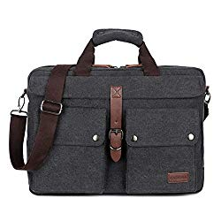 BAOSHA BC-07 17inch Canvas Laptop Computer Bag Messenger Bag Multicompartment Briefcase (Black)