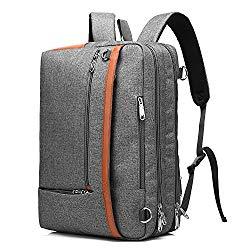 CoolBELL Convertible Backpack Shoulder bag Messenger Bag Laptop Case Business Briefcase Leisure Handbag Multi-functional Travel Rucksack Fits 17.3 Inch Laptop For Men/Women/Travel (New Grey)